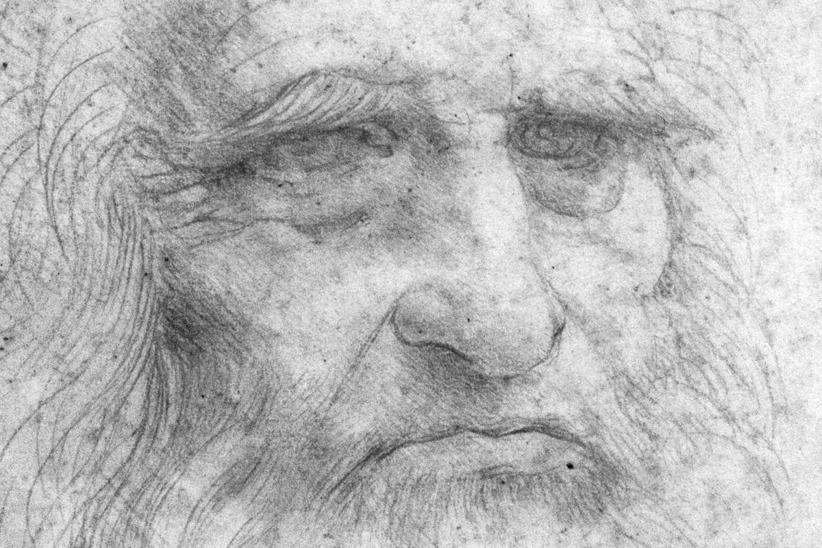 Autoritratto su tela di canapa Leonardo da Vinci